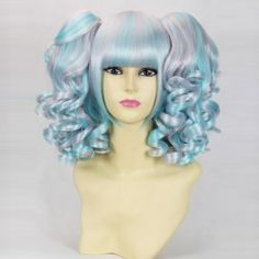 $21.77 Stylish Neat Bang Color Blend Medium Wavy Cosplay Wig For Women(Light Pink   Sky Blue)