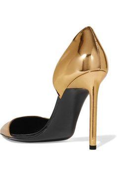 Saint Laurent - Anya D'orsay Metallic Patent-leather Pumps - Gold - IT