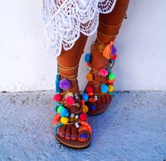 Tie Up Gladiator sandals Misty decorated with friendships, multicoloured Pom Pom & beads. The absolutely perfect pair of sandals for this summer