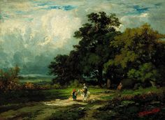 Untitled (man on horse with woman and dog) by Edward Mitchell Bannister
