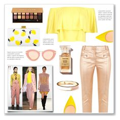 """""""Yellow and Nude"""" by hellodollface ❤ liked on Polyvore featuring Edie Parker, Boohoo, Sies Marjan, Anastasia Beverly Hills, Old Navy, Karen Walker, PopsOfYellow and NYFWYellow"""