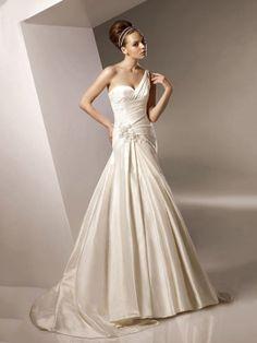 Trumpet/Mermaid One Shoulder Taffeta Sweep Train Appliques Wedding Dresses Shop uk