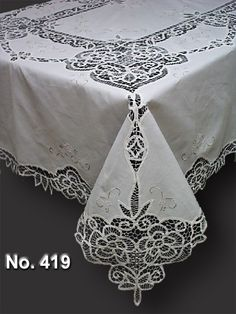 cotton hand embroidery with Battenburg lace oblong tablecloth