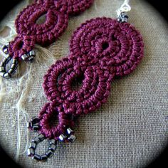 Tatted Lace Earrings Strata Burgundy by TotusMel on Etsy