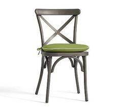 Bistro Chair Cushion, Sunbrella(R) Peridot with Natural Piping