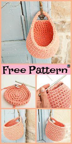 15 Useful Crochet Hanging Basket - Free Crochet - Diy Crafts Crochet Diy, Crochet Simple, Crochet Video, Crochet Storage, Crochet Crafts, Crochet Projects, Crochet Pouch, Crochet Bags, Diy Crafts