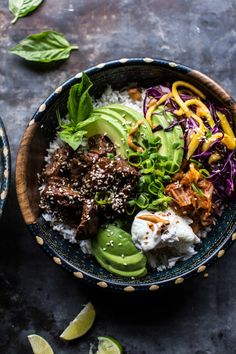 The stars of this bowl are steak grilled in Korean bulgogi marinade, and the spicy peanut sauce that's drizzled on top. Recipe here.