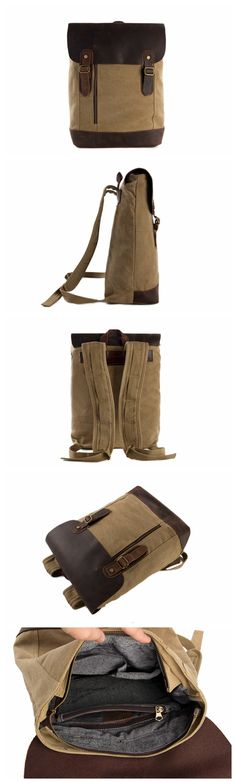 Canvas Leather Backpack Casual Backpack Canvas Leather Shoulder Bag