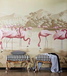 de Gournay grisaille wallpaper with pink flamingos 💕 Funky Home Decor, Easy Home Decor, Cheap Home Decor, De Gournay Wallpaper, Wallpaper Decor, Eden Design, Wall Design, India Design, Contemporary Furniture