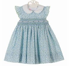 NEW Petit Bebe by Anavini Blue Flowered Smocked Cotton Dress with White Collar