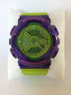 Customized Original G-Shock GA110   [SUMIRE]   Base Watch : GA-110B-1A3JF  Top Band : Hyper Green (GA-110B-3JF) Bottom Band : Hyper Green (GA-110B-3JF) Vezel Portion : Crazy Purple (GD-100SC-6JF)