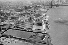 The warehouse was built in 1925 for storage of cargo arriving by boat at the Port of Detroit.