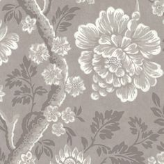 Gustav Wallpaper A charming wallpaper with a large scale floral trail shown in grey and white. The original document was found in Eagle House, a Jacobean manor in Wimbledon and the muted colourway makes it perfect for use all-over, without overpowering a room.