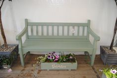 Bench painted with cuprinol garden shades in willow Bench painted with cuprinol garden shades in wil Painted Shed, Painted Benches, Painted Garden Furniture, Vintage Furniture, Outdoor Furniture, Outdoor Decor, Cuprinol Garden Shades, Outside Benches, Garden Seating