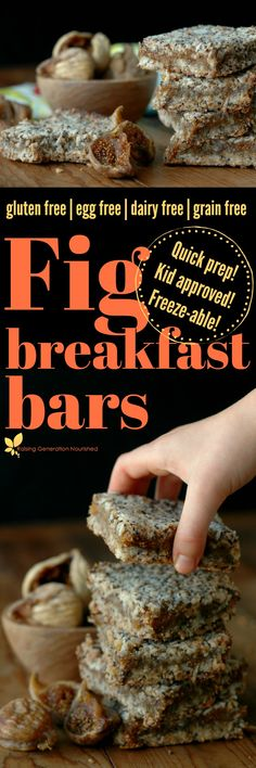 Make breakfast or snack time count with quick prep, freezer friendly, and power packed gluten free fig breakfast bars! paleo breakfast make ahead Figs Breakfast, Breakfast Bars, Paleo Breakfast, Breakfast Recipes, Overnight Breakfast, Breakfast Snacks, Brunch Recipes, Breakfast Ideas, Grain Free
