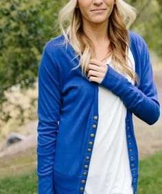 Bella Ella Boutique Ink Blue Brass Snap-Up Cardigan | zulily