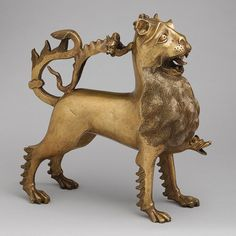 Aquamanile in the Form of a Lion, ca. 1400  German (Nuremberg)  Copper alloy  [Germany (Nuremberg)] (1994.244) | Heilbrunn   In addition to providing intriguing interpretations of animals, bestiaries offered tales about the existence of bizarre and loathsome creatures, many of which appeared in medieval art.    Source: Animals in Medieval Art | Thematic Essay | Heilbrunn Timeline of Art History | The Metropolitan Museum of Art