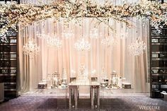 A collection of crystal chandeliers and a 24-ft high, #cherryblossom arrangement was suspended over this magnificent #cake and #dessert display by @bobbetteandbelle for this #Toronto #wedding, featured in our W/S 2016 issue. Elaborate and glam! (: @ikonicaimages, same-day coordination: @lauraandcoevents, floral and decor: @rachelaclingen, venue: @fstoronto)
