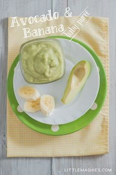 Baby food recipe Avocado & Banana puree from Little Mashies reusable food pouches. For free recipe ebook go to Little Mashies website or Amazon