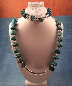 Desert Beauty turquoise and silver set. $135 in my Etsy shop