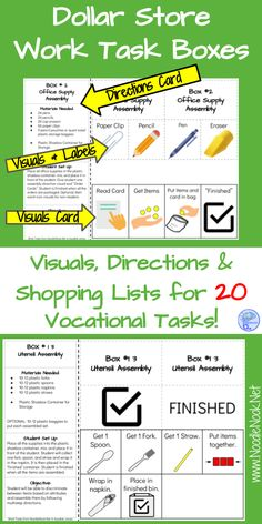 starter set for class vocational tasks and occupational prep for students with Autism or life skills instruction.Great starter set for class vocational tasks and occupational prep for students with Autism or life skills instruction. Life Skills Lessons, Life Skills Activities, Life Skills Classroom, Teaching Life Skills, Autism Activities, Special Education Classroom, Sorting Activities, Autism Classroom, Classroom Setup