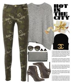 """Camo Skinny Jeans"" by crblackflag ❤ liked on Polyvore featuring MANGO, STELLA McCARTNEY, Vivienne Westwood, camoskinnyjeans, Chanelhat and StellaMcCartneywallet"