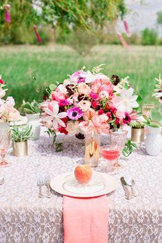 Pink floral bridal shower centerpiece | Cassandra Photo | see more on: http://burnettsboards.com/2014/08/bohemian-bridal-shower-smitten-magazine/