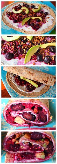 Healthy Mixed Berry Avocado Wrap