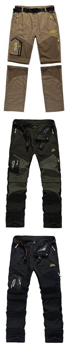Mens Big Size Spring Summer Outdoor Pants Detachable Water-repellent Sport Shorts