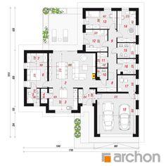 gotowy projekt Dom w nawłociach 2 rzut parteru House Map, Modern House Design, Planer, Bungalow, House Plans, Pergola, Sweet Home, Floor Plans, How To Plan