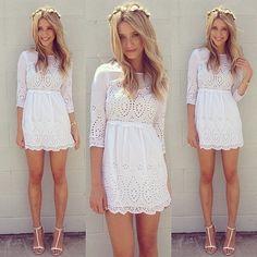 Vestido Branco de Laise - Vestidos   DMS Boutique