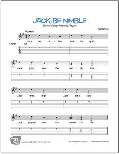Jack Be Nimble | Print Free Beginner Guitar Sheet Music (Notation and TAB) Professionally Arranged by the MakingMusicFun.net Staff. Format:PDF Pages:1 Guitar Sheet Music, Lead Sheet, Easy Guitar, Guitar For Beginners, Kids Songs, Christmas Carol, Nursery Rhymes, Pdf, Writing