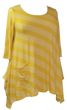 Inside Out Plus Crystal Tunic in Sunshine Yellow Stripe. Shapely feminine tunic features elbow length sleeves and a sweet pocket all in sunshine yellow stripe buttery soft fabric. Xl, XXL, 1X-2X Made in the USA