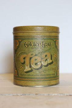 Antique Vintage Golden Leaf Tea Tin by Ballonoff