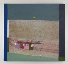 Merlin James, Beach Huts (2003-2014), Acrylic and sawdust on canvas, 51 × 54 cm