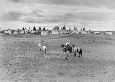 Aboriginal encampment near Calgary, AB. 1925. Musée McCord Museum.