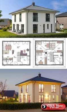 European Style Villa House Plan & Interior Architecture Design Ideas Modern European Style Architecture House Plan Villa 140 - Dream Home Ideas with Double Storey House Plans Blueprint - Open Floor Interior Design Home . Dream House Plans, Modern House Plans, Small House Plans, Square House Plans, Architecture Design, Plans Architecture, Living Haus, Living Room, Style Villa
