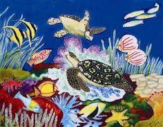 ocean life murals with sea turrles Sea Life Art, Ocean Life, Underwater Sea, Tile Art, Life Drawing, Art Decor, Rooster, Embellishments, Turtle