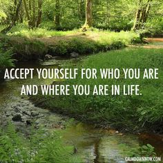"""""""Accept yourself for who you are and where you are in life."""" Inspiring #quotes and #affirmations by Calm Down Now, an empowering mobile app for overcoming anxiety. For iOS: http://cal.ms/1mtzooS For Android: http://cal.ms/NaXUeo"""