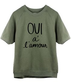 YES TO LOVE SHORT SLEEVE SWEATSHIRT - OLIVE – Shop Sincerely Jules
