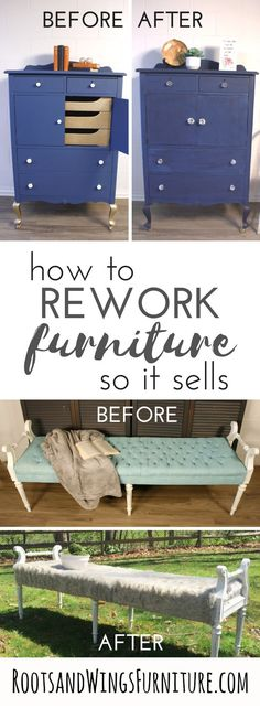 How to make a few simple changes to re-work your pieces so they SELL! Tips and tricks by Jenni of Roots and Wings Furniture. Diy Furniture Projects, Diy Home Decor Projects, Furniture Makeover, Decor Ideas, Diy Ideas, Selling Furniture, Quality Furniture, Furniture Deals, Furniture Stores