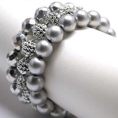 Silver beaded bracelet set...very pretty