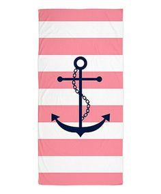 Pink & Navy Anchor Beach towel
