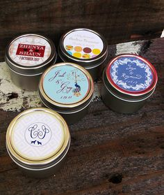 Customized candles as wedding favors- monogrammed tin lids, childhood pictures, couples' photos, etc.