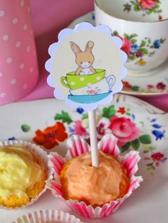 easter teaparty - Bunny and her Teacups  6 Cupcake Toppers by Bumpkin on Etsy, €6.00