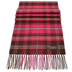100/% Cashmere Scarf Dark Red Black Check Plaid Made in Scotland SOFT Warm NEW