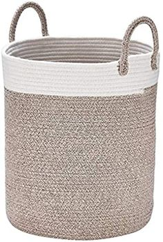 Baby Nursery in Laundry or Kids Room Homfa Woven Cotton Rope Storage Basket Blankets Storage Neutral White /& Gray 13 W x 15 H with Handles for Toys Organization