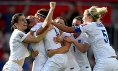 England celebrate after Lucy Bronze scores their second goal against Norway.
