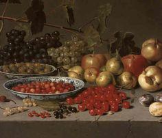 A STILL LIFE OF FRUIT WITH PORCELAIN BOWLS by Floris Gerritsz. van Schooten