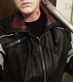 leather jacket baseball bat blood